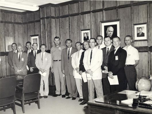"Original ""Moon Men"", Marshall Space Flight Center. Mack Shettles is 4th from the left. Werner von Braun, Director of MSFC is 7th from the left."